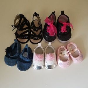 Bundle of Baby Girl Shoes Sizes 0-12 months